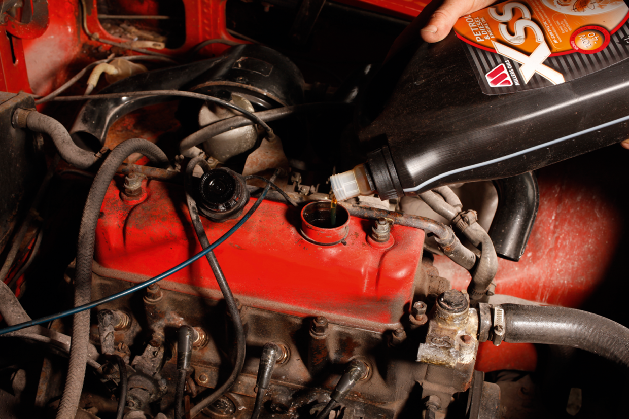Change the oil and filter before you store your beloved classic car
