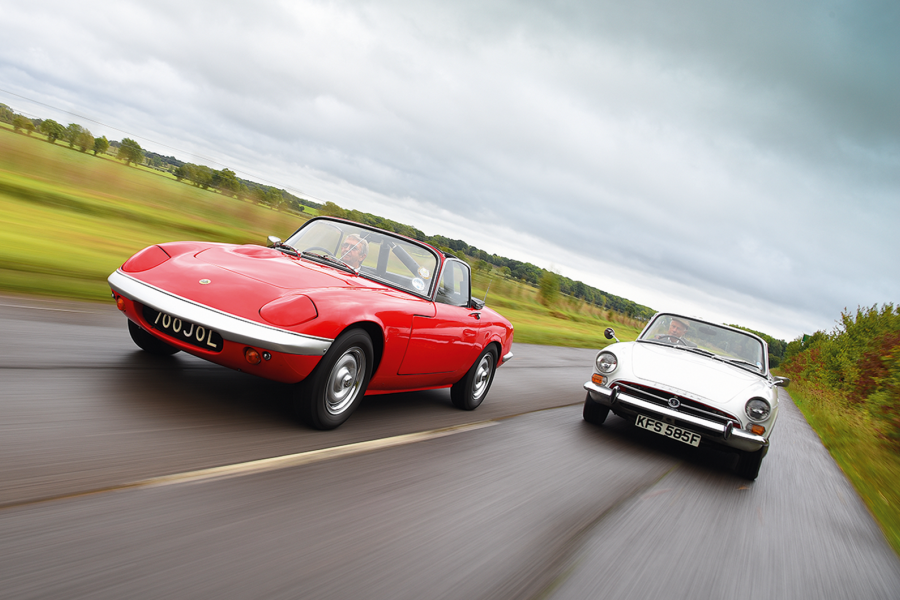It's Lotus Elan in the red corner, Sunbeam Tiger in the white corner